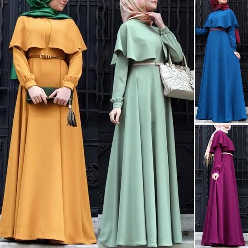 Muslim Kaftan Abaya Jilbab Islamic Women Long Sleeve Cocktail Maxi Vintage Dress Shopee Malaysia